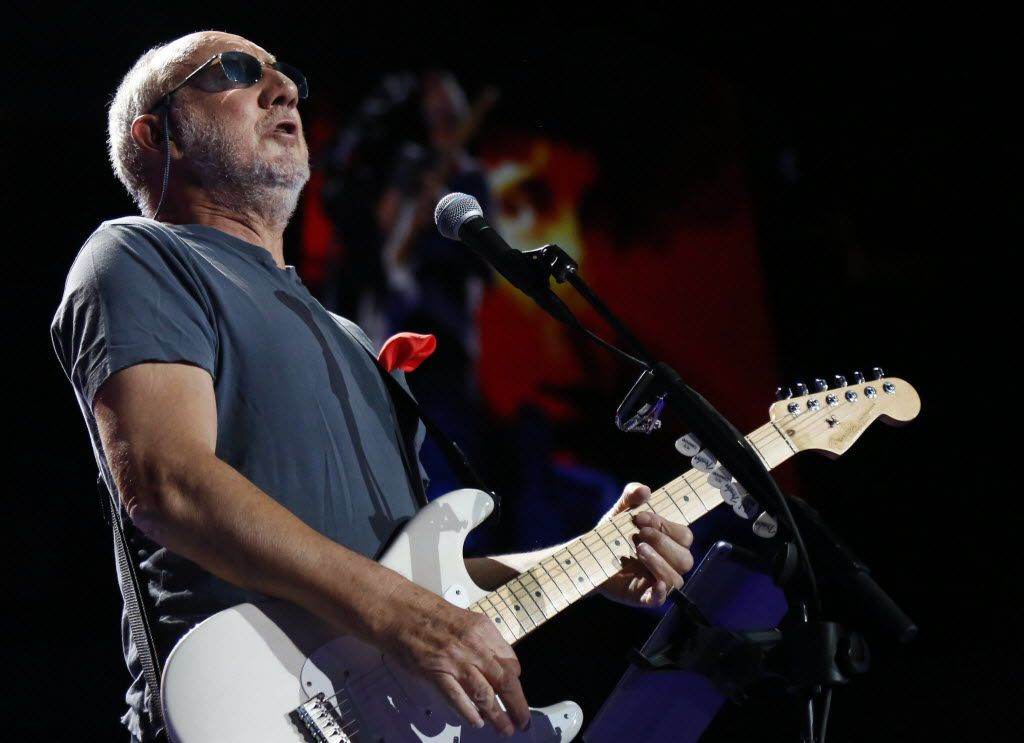 Pete Townshend, guitarist of The Who, is shown during a performance at the American Airlines Center on Saturday, May 2, 2015 in Dallas.