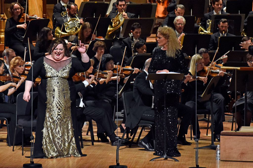 Soprano Heidi Melton, left, as Brünnhilde and mezzo-soprano Michelle DeYoung as Sieglinde in a Dallas Symphony Orchestra concert performance of Richard Wagner's Die Walküre, led by music director Jaap Van Zweden, on May 18, 2018 at the Morton H. Meyerson Symphony Center in Dallas.