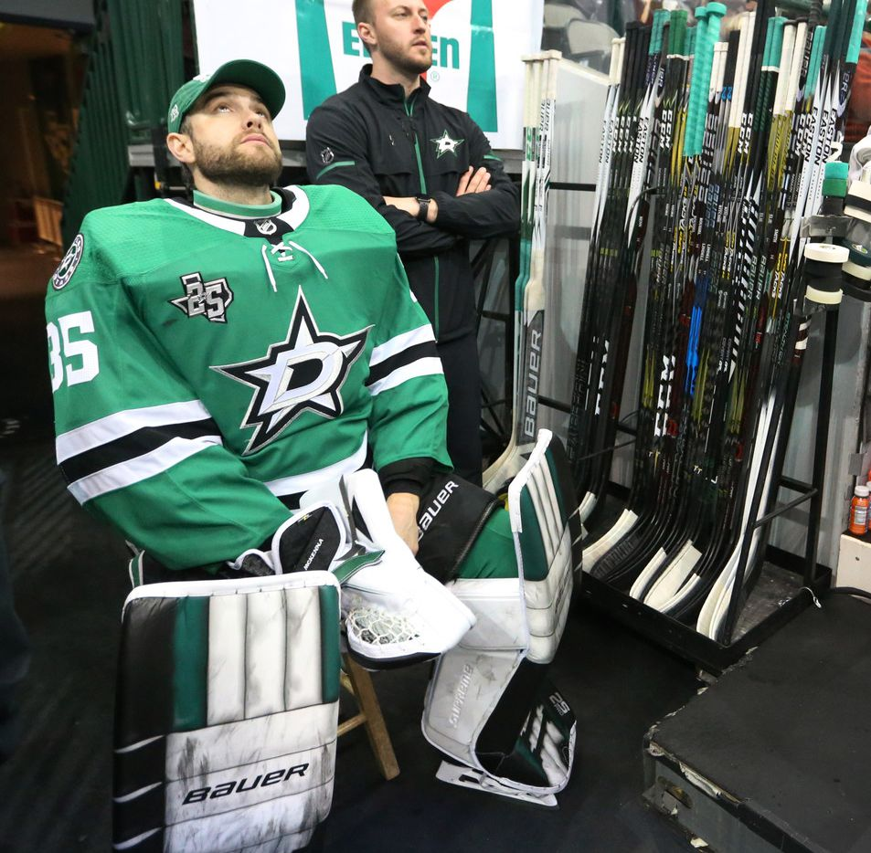 Dallas Stars goaltender Mike McKenna (35) is pictured during the Anaheim Ducks vs. the Dallas Stars NHL hockey game at the American Airlines Center in Dallas on Friday, March 9, 2018. (Louis DeLuca/The Dallas Morning News)