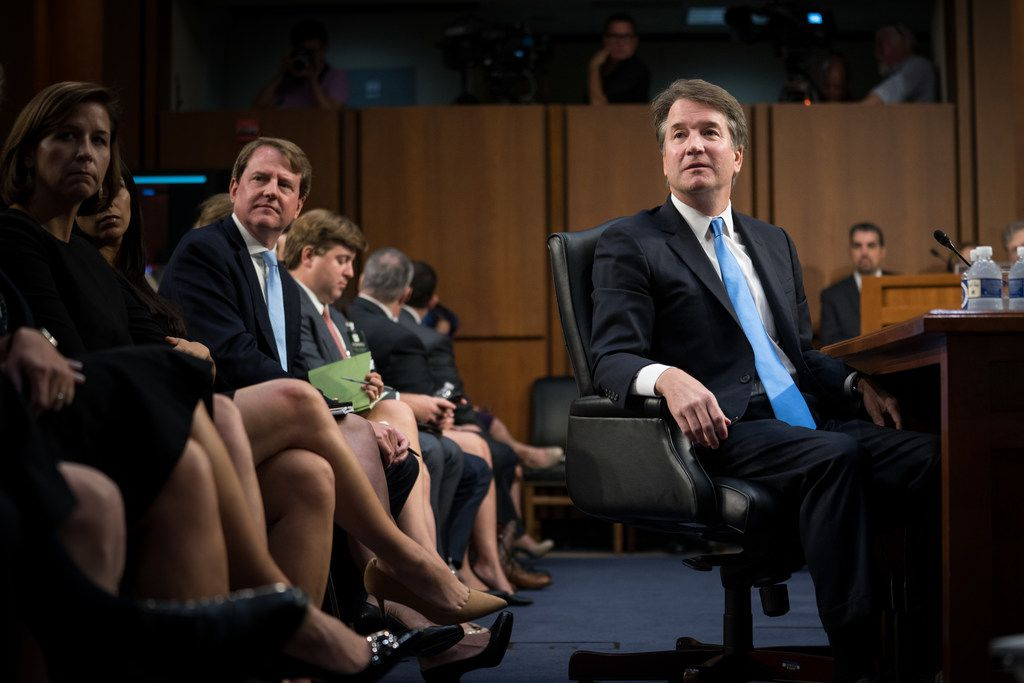 Judge Brett Kavanaugh, President Donald Trump's Supreme Court nominee, watches a video of himself during his Senate Judiciary Committee confirmation hearing, on Capitol Hill in Washington, Sept. 5, 2018.