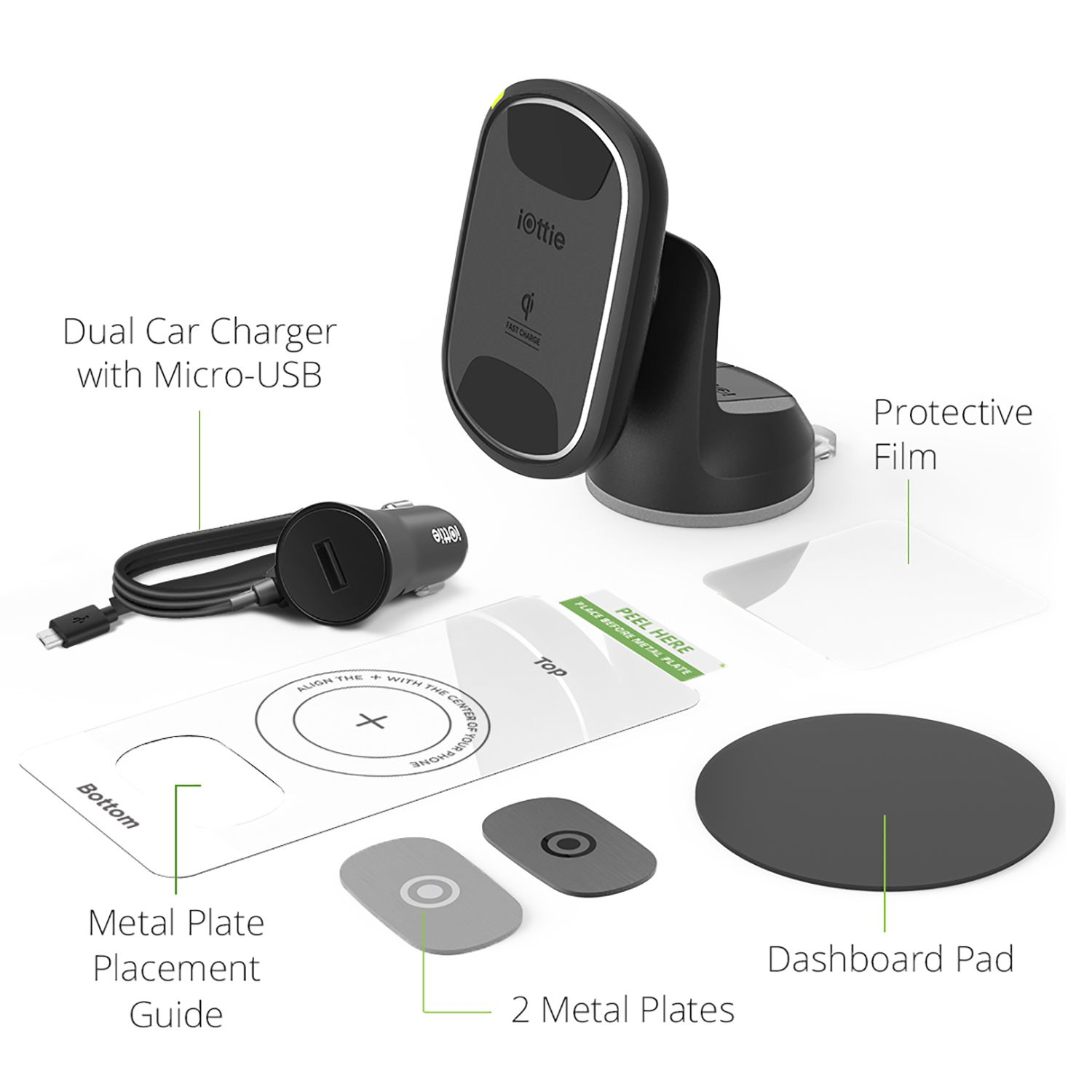 The contents of the iOttie iTap 2 Wireless Dashboard Mount.