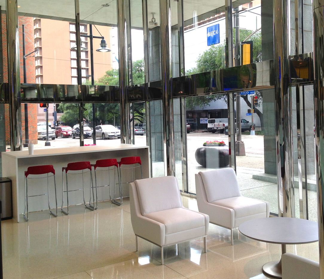 The Ross Avenue lobby got new tenant areas and seating.