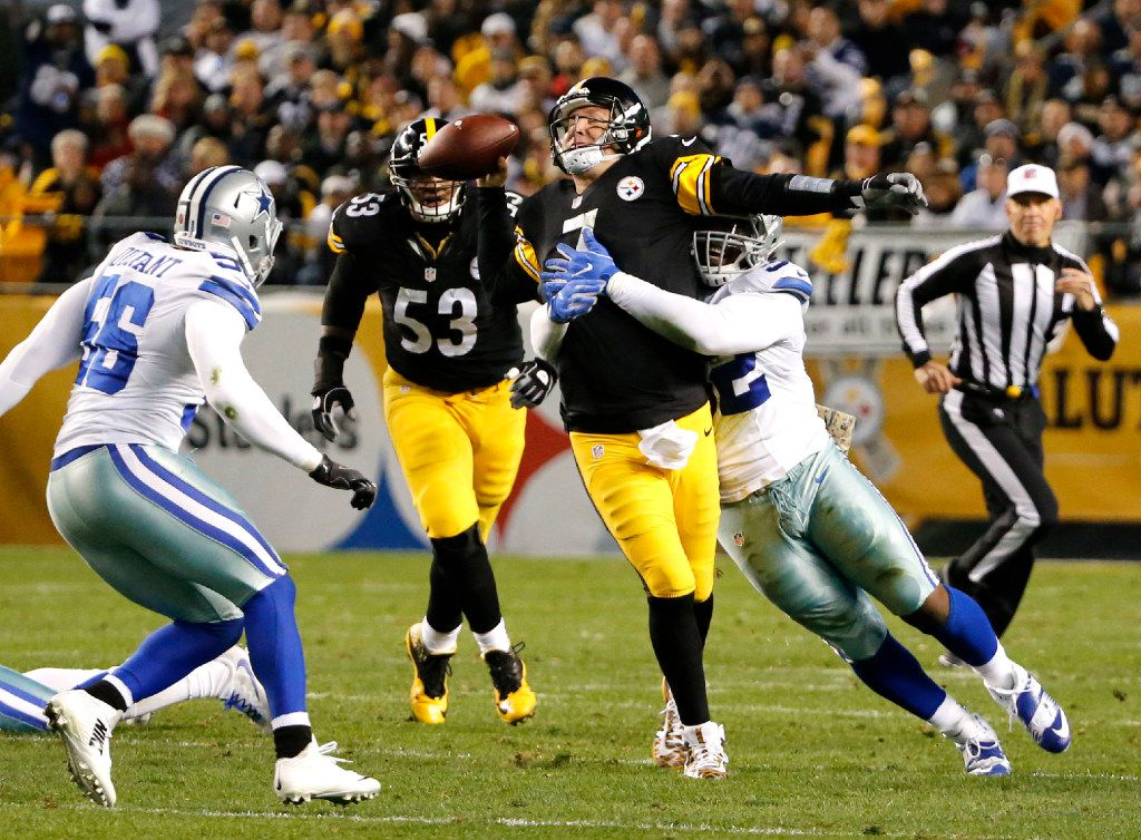Dallas Cowboys defensive tackle Cedric Thornton (92) tackles Pittsburgh Steelers quarterback Ben Roethlisberger (7) in the second quarter at Heinz Field in Pittsburgh, Pennsylvania on Nov. 13, 2016.