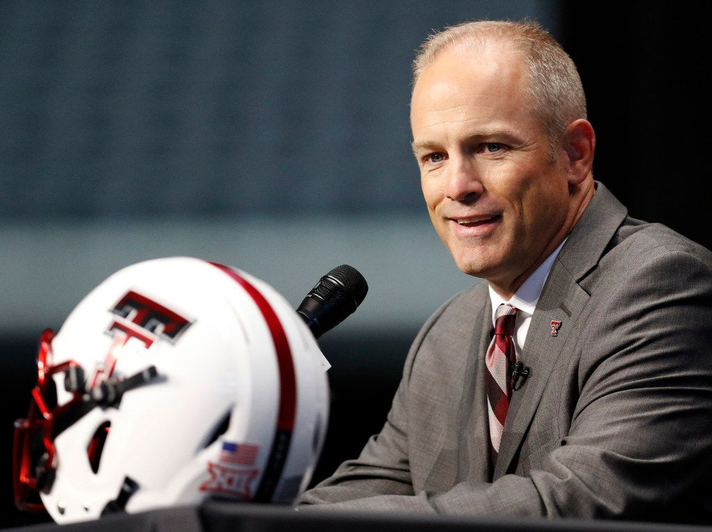 FILE - In this July 15, 2019, photo, Texas Tech head coach Matt Wells speaks on the first day of the Big 12 Conference NCAA college football media days in Arlington, Texas. The Red Raiders have a new coach in Wells, and a healthy sophomore quarterback in Alan Bowman after he showed off his exceptional ability in between dealing with a deflated lung. There is also an emphasis on defense for the Red Raiders, who always score a lot of points, and give up a lot. (AP Photo/David Kent, file)