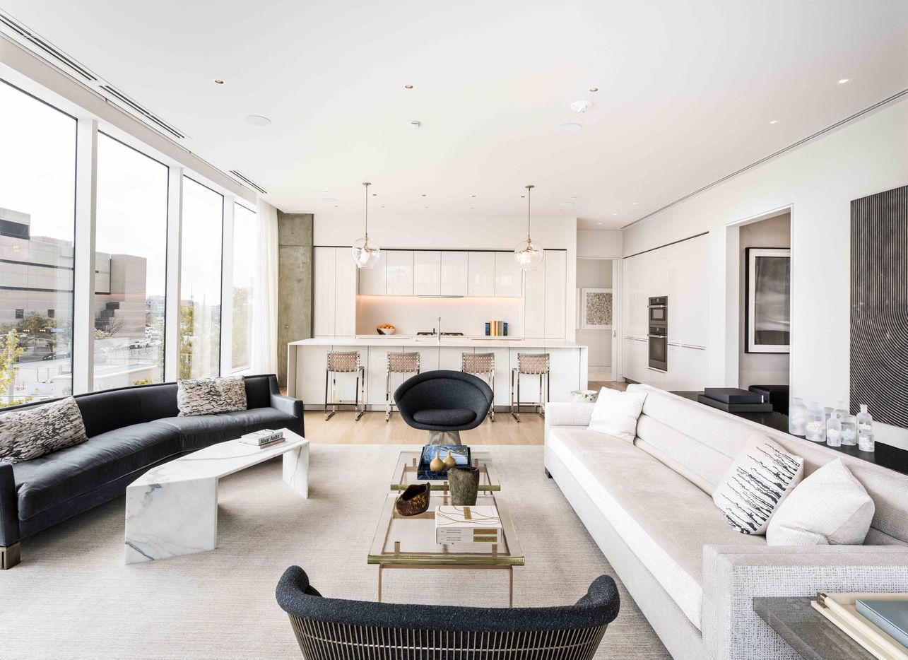 The main living area model in the Hall Arts Residences condo tower in downtown Dallas.