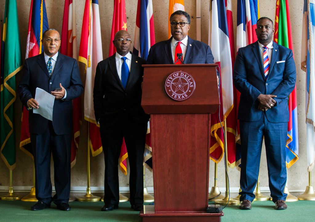 "From left: African-American Dallas City Council members Kevin Felder, Tennell Atkins, Mayor Pro Tem Dwaine Caraway and Casey Thomas announce that Confederate memorial statues must be be taken down after a ""process,"" including Mayor Mike Rawlings' task force."