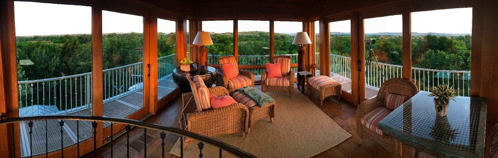 A panoramic view inside the observation room atop The Family House has a 360-degree view of businessman T. Boone Pickens' Mesa Vista Ranch in the Texas panhandle.