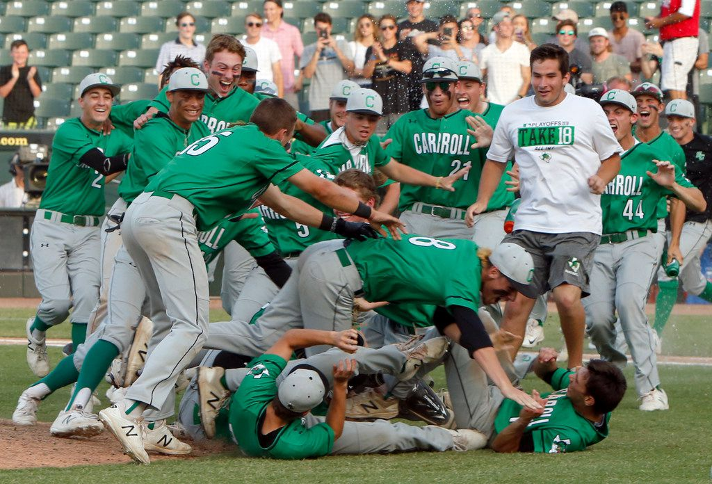 Southlake Carroll players engage in a major league doggrel near the mound following their 7-2 victory over San Antonio Reagan to capture the state championship trophy. The two teams played their Class 6A state championship  baseball game at Dell Diamond in Round Rock on June 9, 2018. (Steve Hamm/ Special Contributor)
