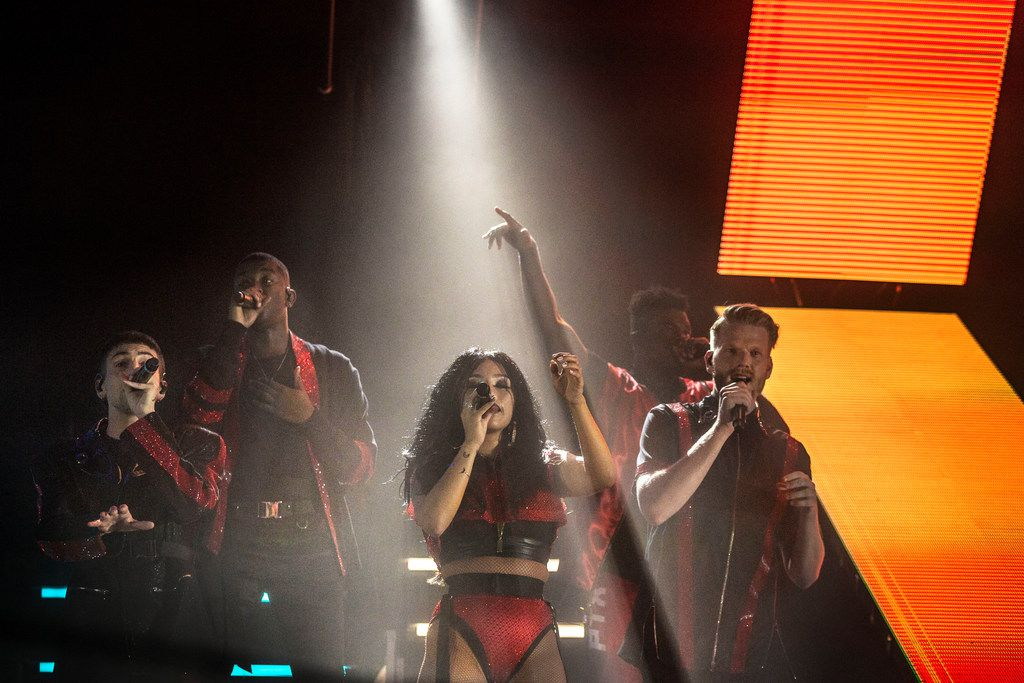 Pentatonix during their concert at Dos Equis Pavilion in Dallas on July 26, 2018. (Carly Geraci/The Dallas Morning News)