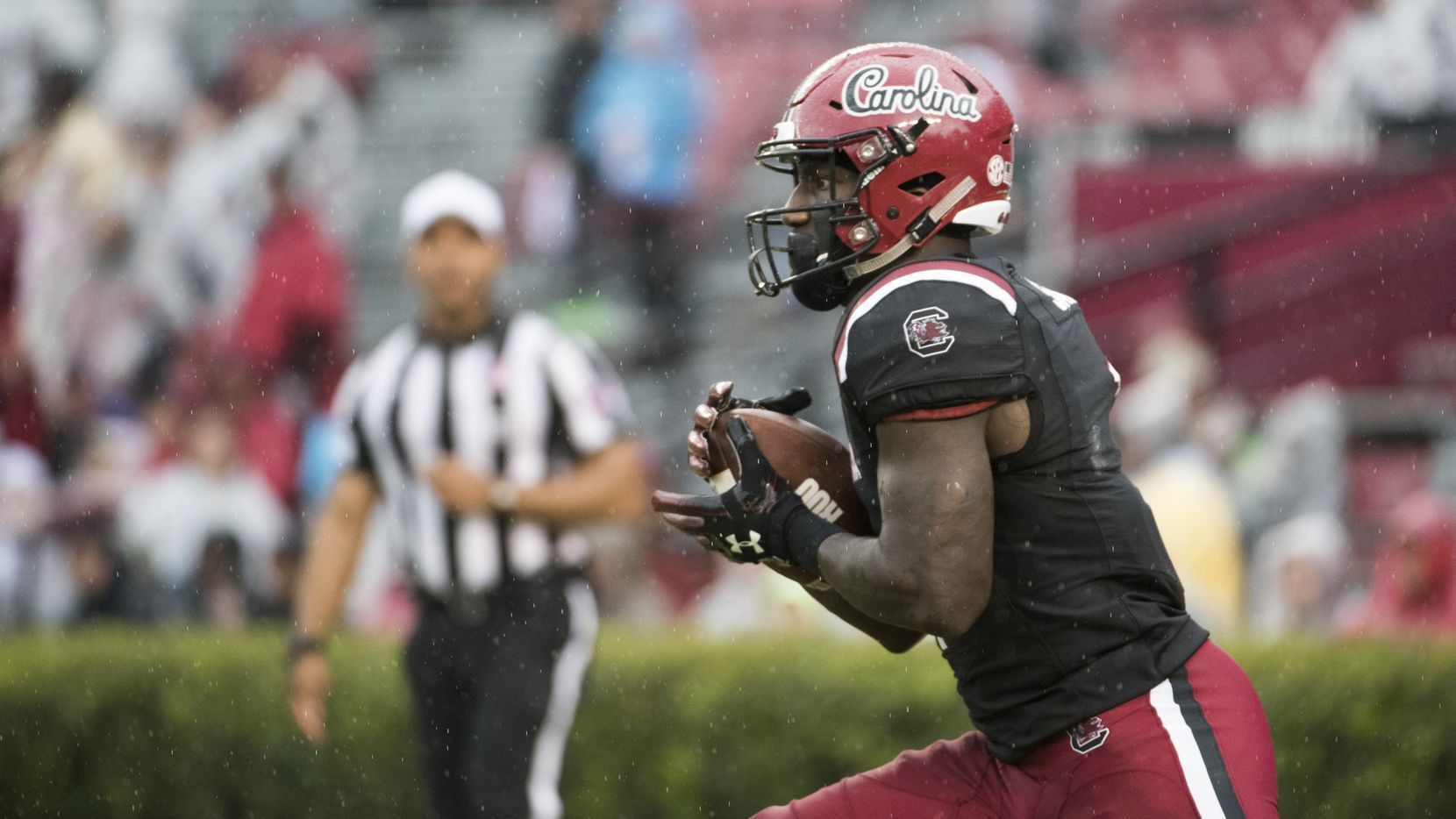 FILE - South Carolina wide receiver Deebo Samuel (1) returns a kick during an NCAA college football game against Akron Saturday, Dec. 1, 2018, in Columbia, S.C. South Carolina defeated Akron 28-3. (AP Photo/Sean Rayford)