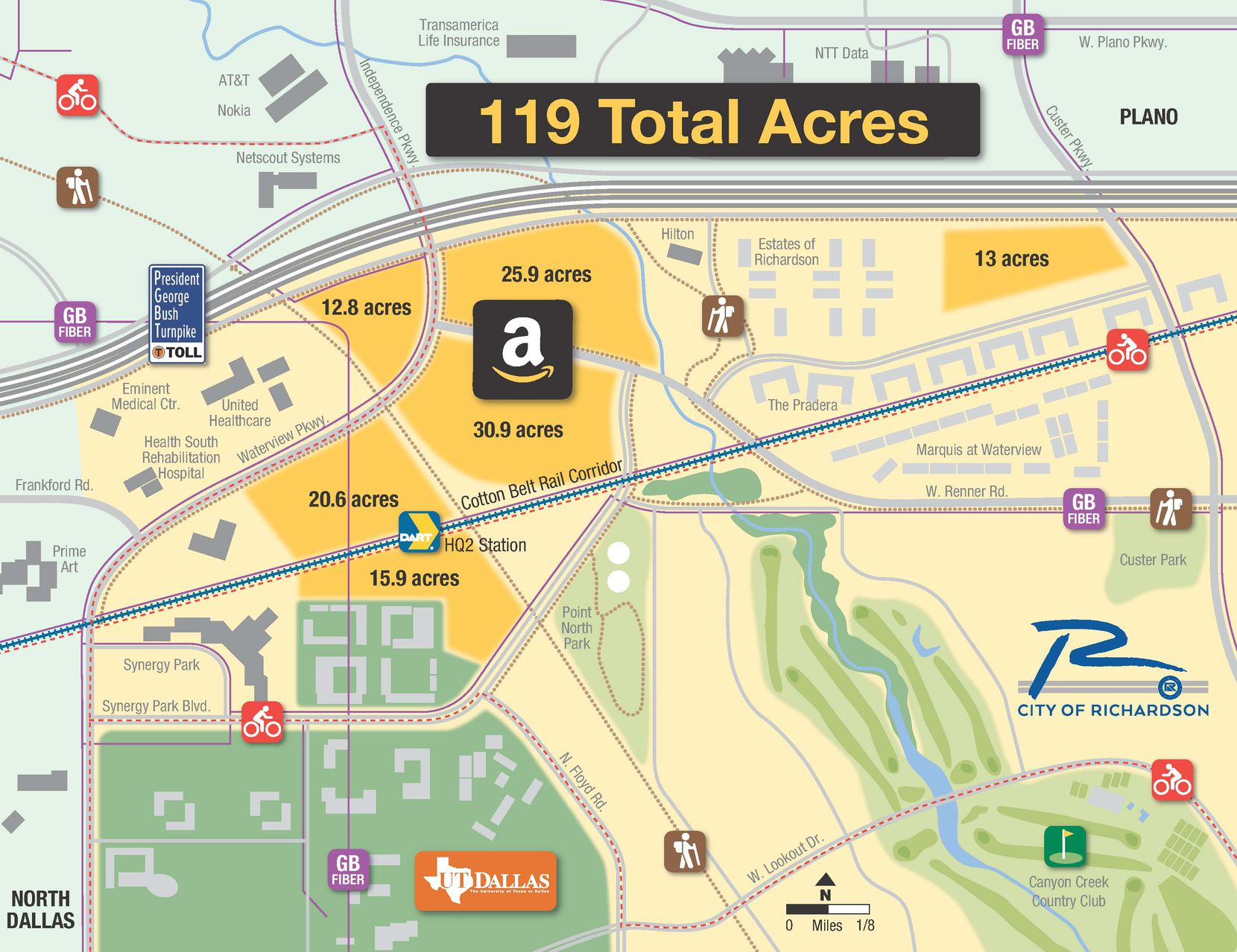 Available land, access to transit and a trained workforce are among pieces of Richardson's lure to draw Seattle-based technology and retail giant Amazon's $5 billion second headquarters.