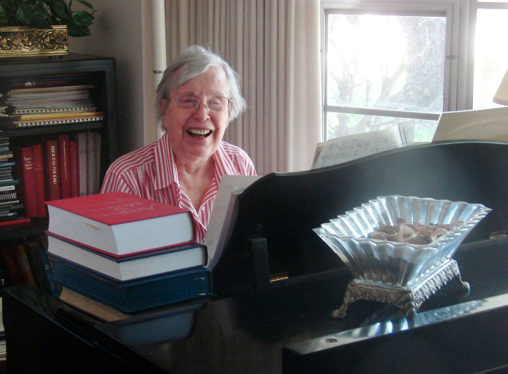 Jane Marshall, seen at her piano in 2016, became a revered figure in United Methodist circles and beyond for her many anthems, hymns and other sacred music pieces, as well as her work as a music educator.
