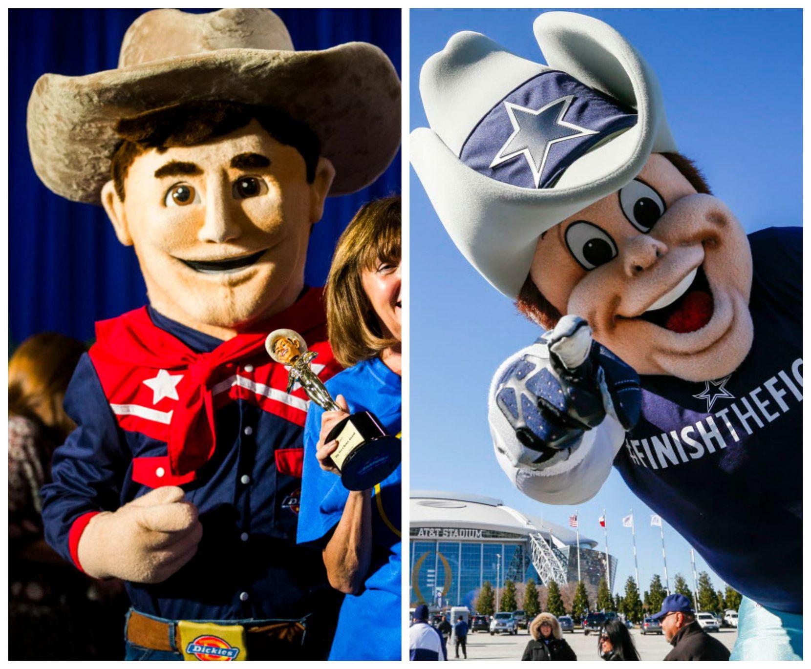 Left: Big Tex, or maybe Dallas Cowboys mascot Rowdy? Right: Rowdy... We think. Maybe Big Tex?