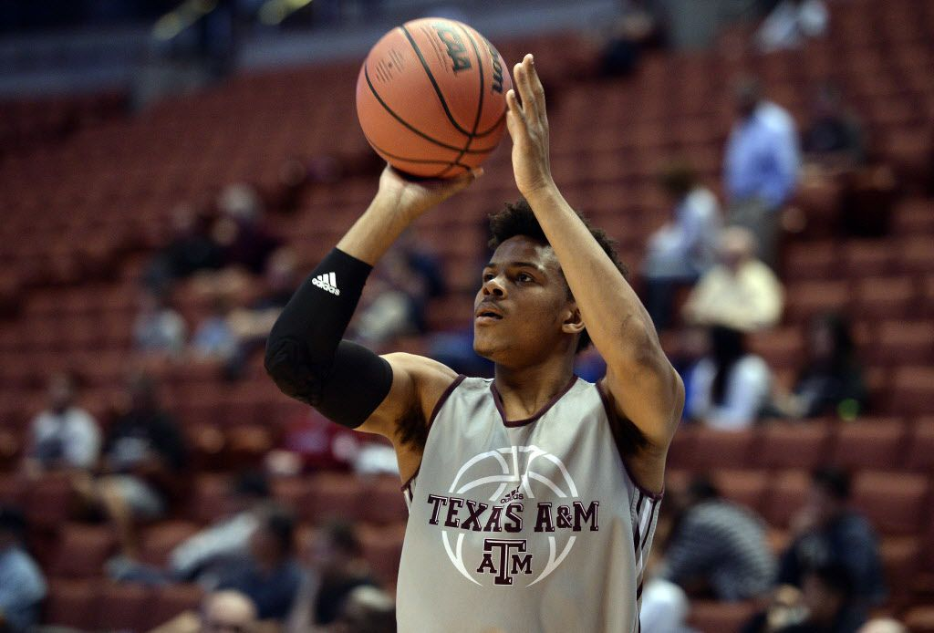 March 23, 2016; Anaheim, CA, USA; Texas A&M guard Admon Gilder (3) shoots during practice the day before the semifinals of the West regional of the NCAA Tournament at Honda Center. Mandatory Credit: Robert Hanashiro-USA TODAY Sports