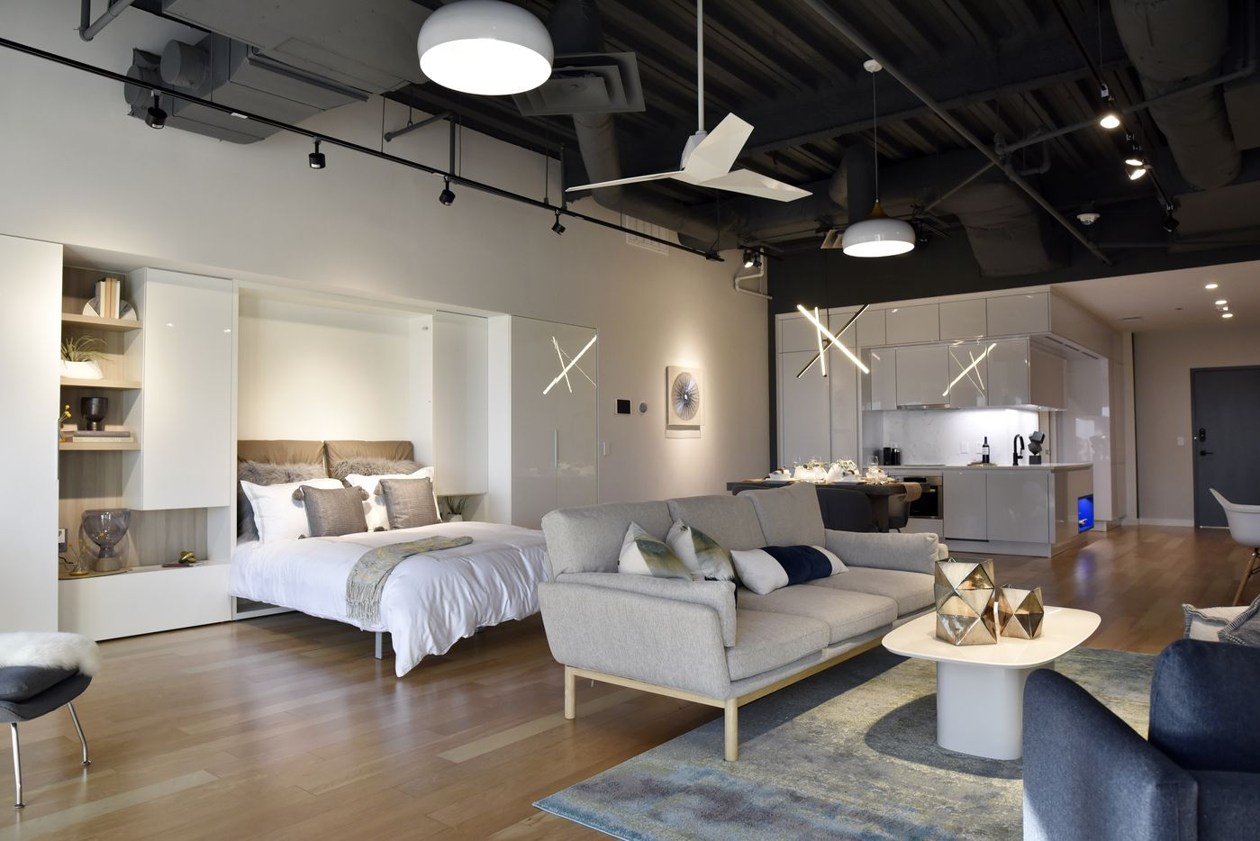 A model apartment for Bluelofts urban high-rise facilities in downtown Dallas,