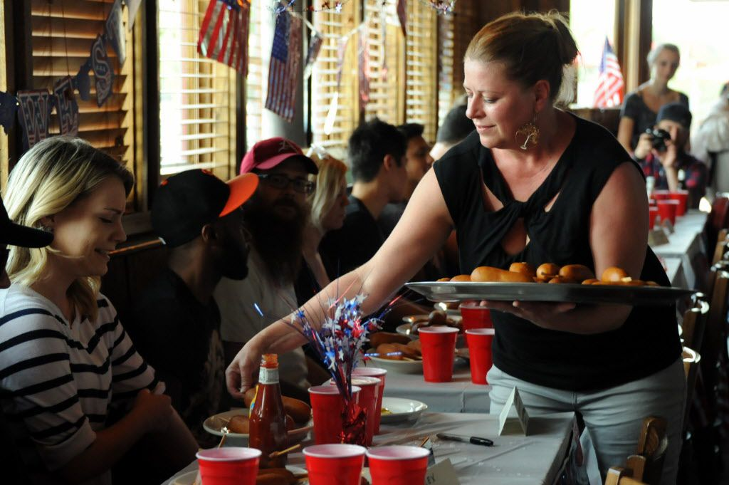 Corn dogs are plated at the 7th annual Brass Knuckles Corn Dog Beatdown at The Libertine Bar on July 4, 2015.