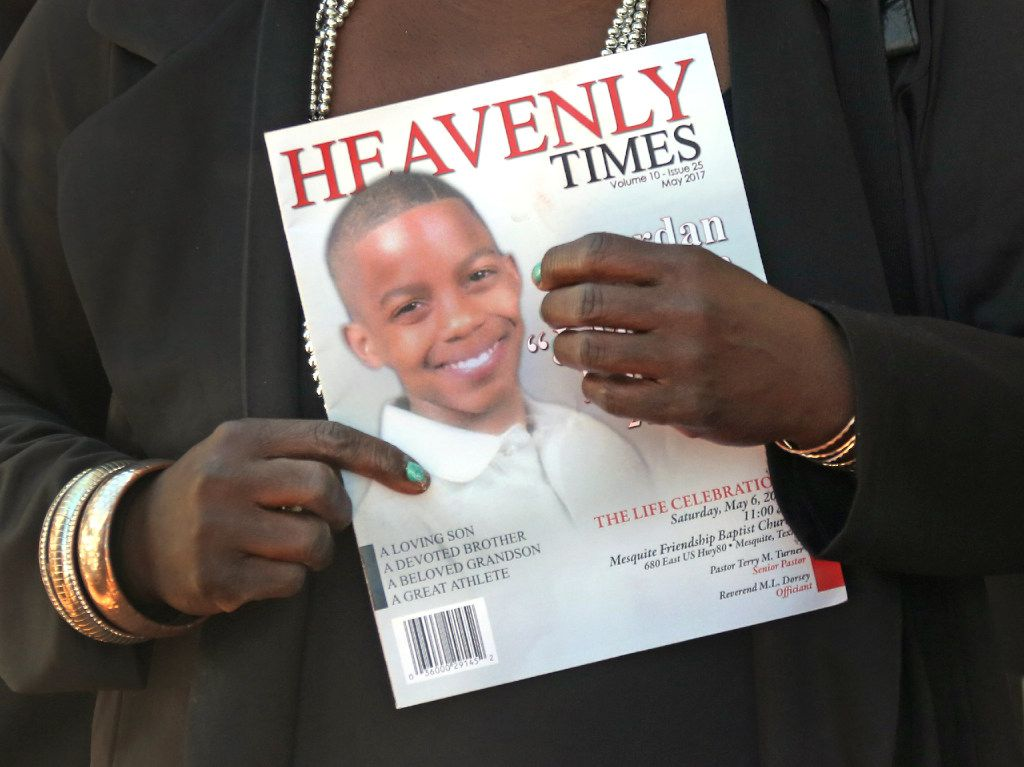 Mourners carried a commemorative program at the funeral service for 15-year-old Jordan Edwards at Mesquite Friendship Baptist Church.