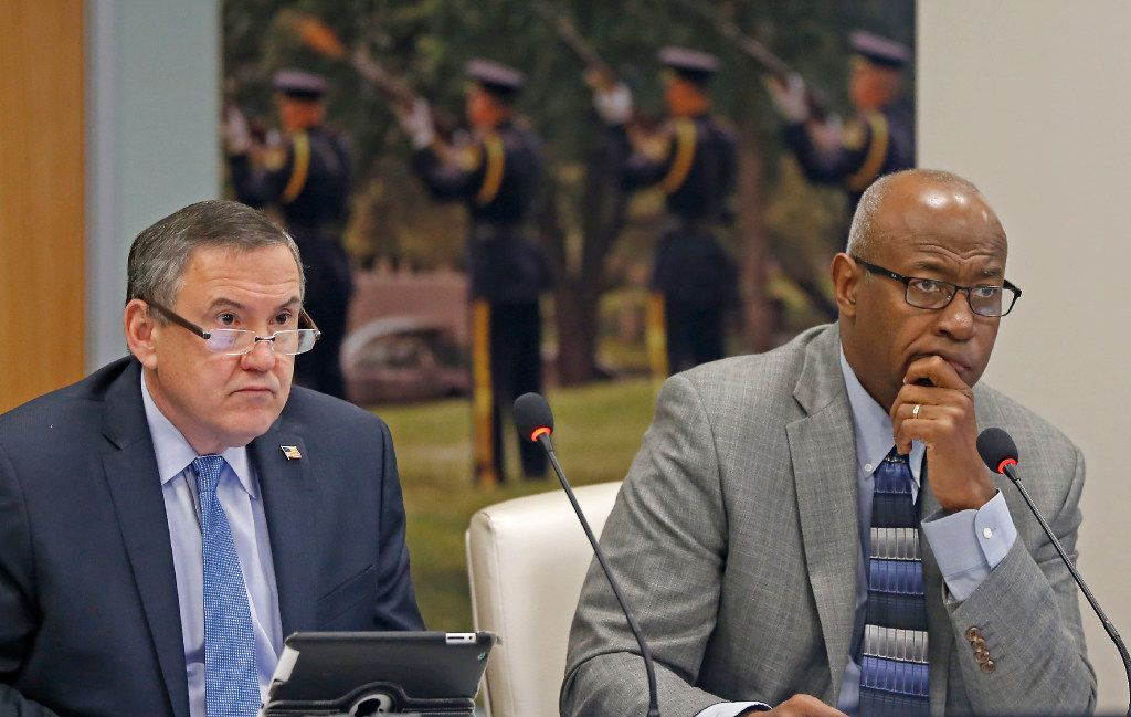 Chairman Sam Friar (right) and Vice Chairman Ken Haben listen to the discussion about the possible changes to DROP policy during the Board of Trustees meeting at Dallas Police and Fire Pension System in Dallas, Thursday, Dec. 8, 2016.