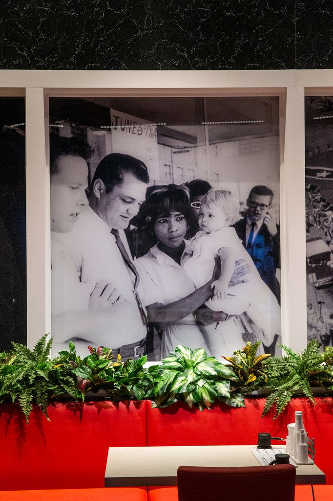 """A display re-creating the Piccadilly Cafeteria in Dallas in the """"Pivot to America"""" civil rights wing of the new Dallas Holocaust and Human Rights Museum. In 1964, protesters gathered at the Piccadilly Cafeteria after African-American customer Clarence Broadnax was jailed for refusing to concede to the businesses' refusal to serve him."""