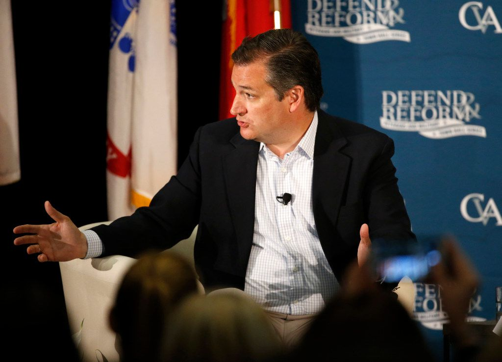Sen. Ted Cruz speaks during the Concerned Veterans of America Defend and Reform Town Hall at the Sheraton McKinney Hotel in McKinney, Texas on Wednesday. The meeting was hosted by the Concerned Veterans for America.