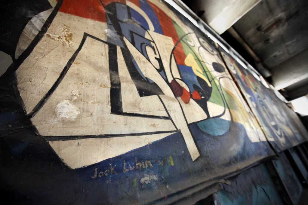 Jack Lubin's 40-foot-long mural from 1956 was found behind a wall in the Statler during renovations.