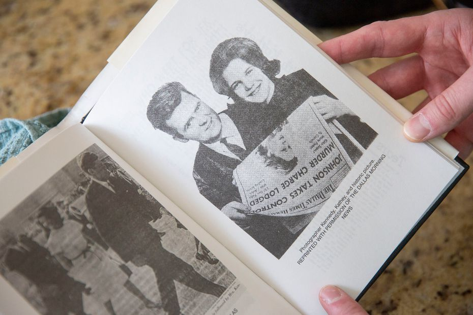 At Eamon Kennedy's home in Plano, the former Dallas Times Herald photographer showed a picture of himself with Kathey Atkinson from Atkinson's 1999 book, Grief of a Nation: Kathey's Story.