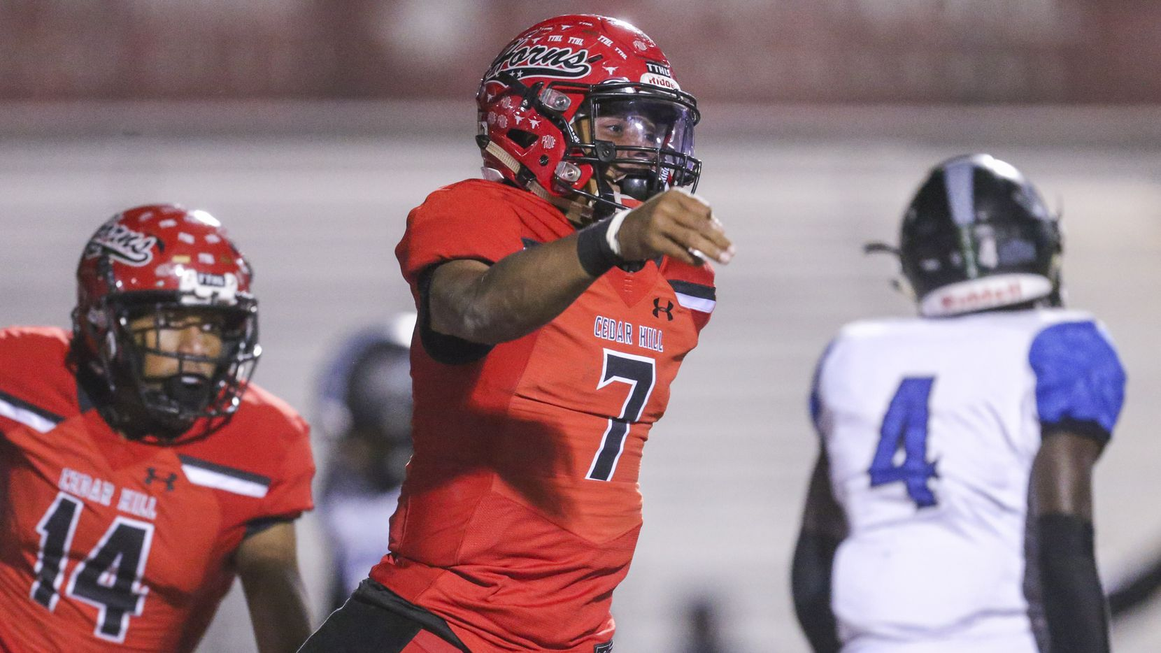 Cedar Hill quarterback Kaidon Salter (7) celebrates his touchdown during the first half of a high school football game between Cedar HIll and Mansfield Summit on Friday, October 11, 2019 at Longhorn Stadium in Cedar Hill, Texas. (Shaban Athuman/Staff Photographer)