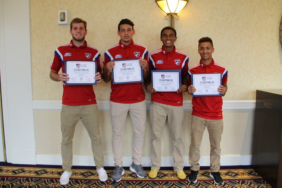 FC Dallas U17/18 players Ben Hale, Hector Montalvo, Reggie Cannon, and Devin Vega [left to right] were named to the 2016 All-Central Conference Team.