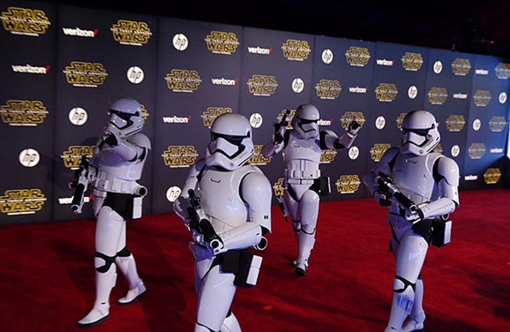 """Stormtroopers walk the red carpet at the Hollywood premiere of """"Star Wars: The Force Awakens"""" on Monday, Dec. 14, 2015."""