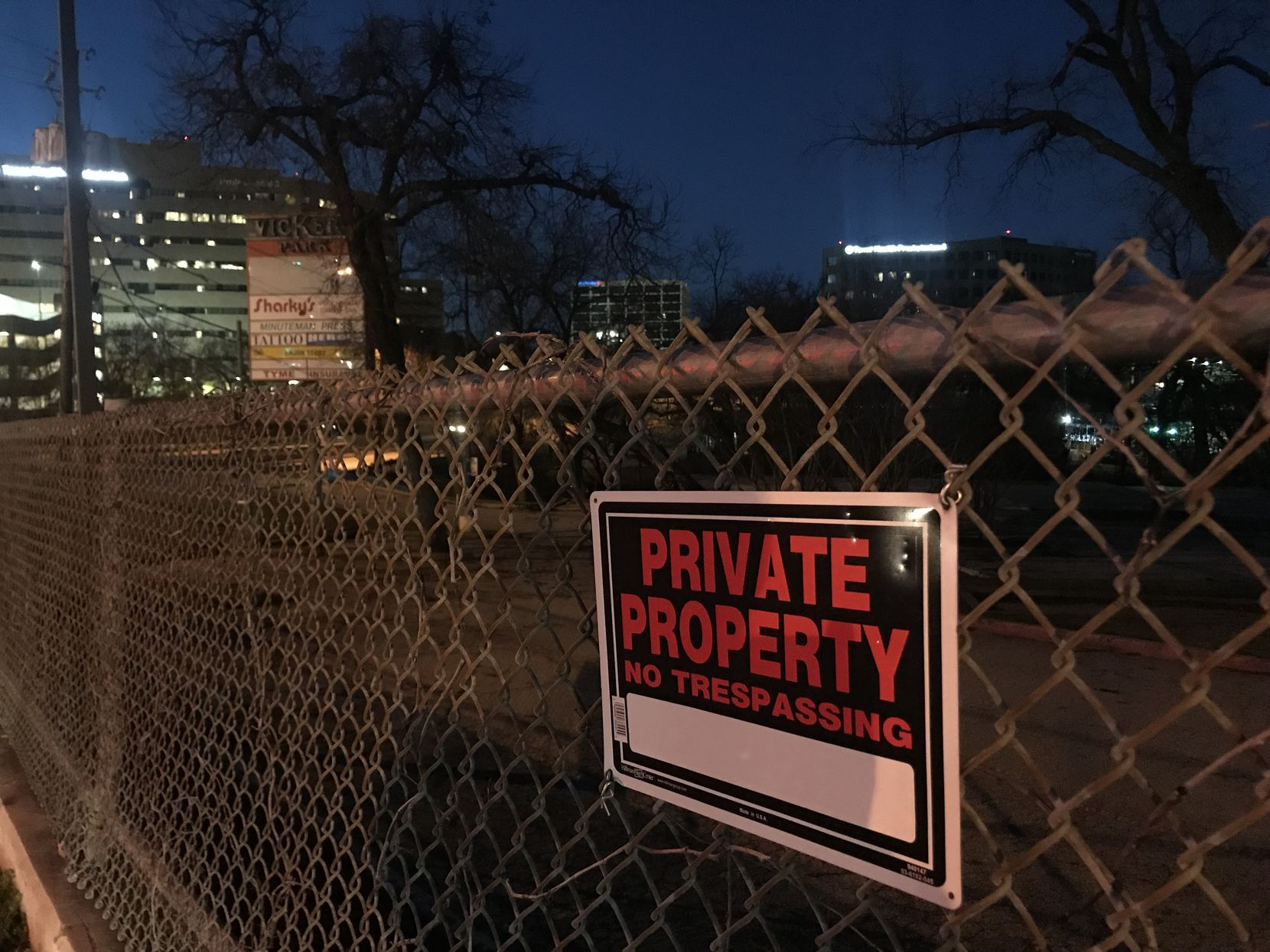 An area where Vickery Park used to be is now an empty lot. The area is also home to the American Heart Association's headquarters and several residential and commercial buildings.