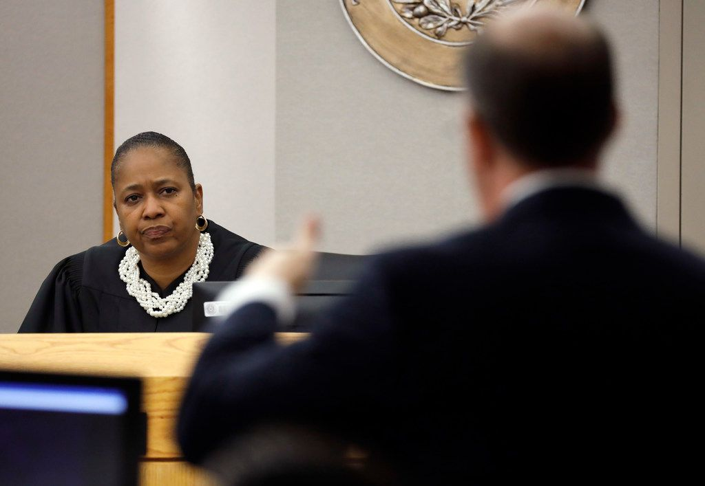 Judge Tammy Kemp listens to an argument made by Robert Rogers, one of Amber Guyger's defense attorneys.