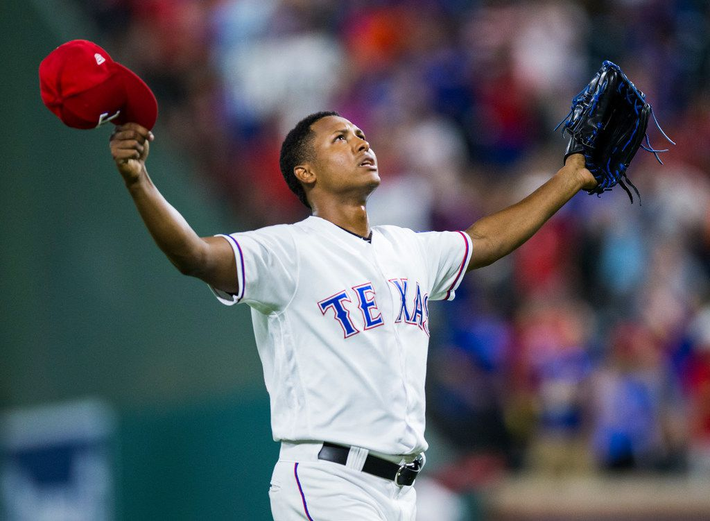 Texas Rangers relief pitcher Jose Leclerc (62) celebrates an 8-6 win over the Los Angeles Angels on Thursday, August 16, 2018 at Globe Life Park in Arlington. (Ashley Landis/The Dallas Morning News)
