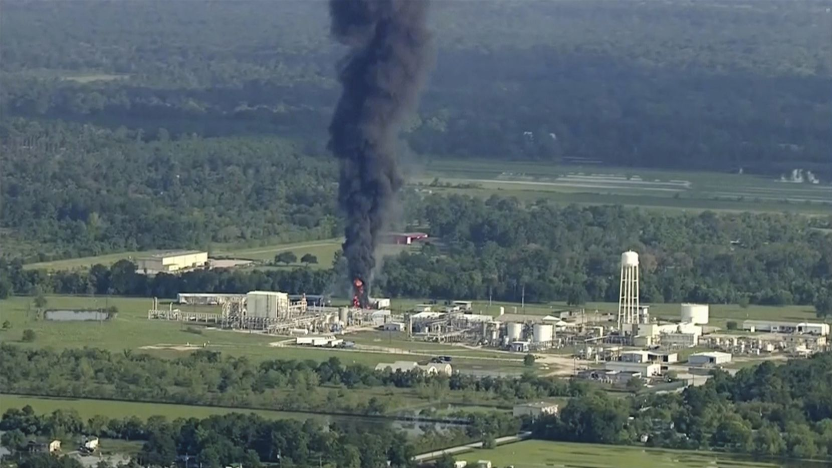 Smoke rises from a chemical plant in Crosby, Texas, on Friday.