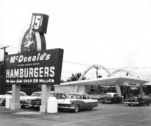 A 1950's handout photo shows Ray Kroc's flagship McDonald's franchise in Des Plaines, Ill.