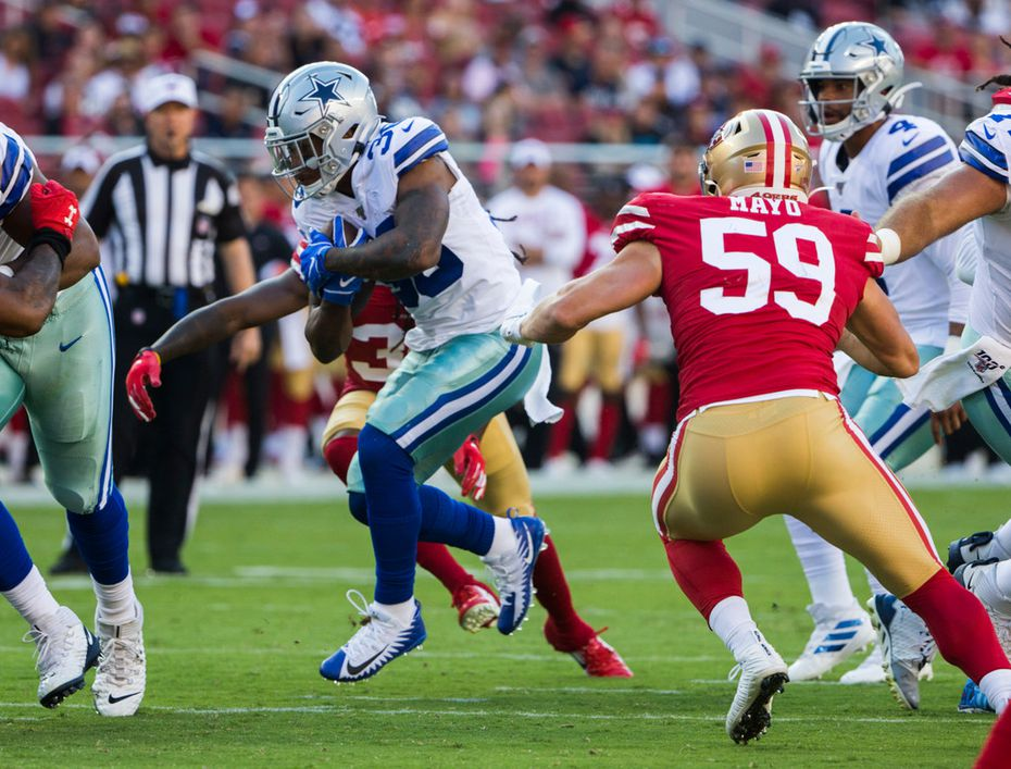 Cowboys running back Tony Pollard (36) finds a hole during the first quarter of a preseason game against the San Francisco 49ers on Saturday, Aug. 10, 2019, at Levi's Stadium in Santa Clara, Calif.