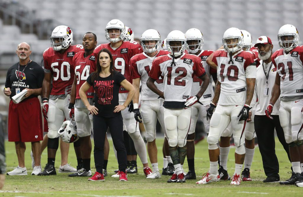 Arizona Cardinals training camp coach Jen Welter watches practice during NFL football training camp Wednesday, Aug. 26, 2015, in Glendale, Ariz. (Michael Chow/The Arizona Republic via AP) 08292015xPUB