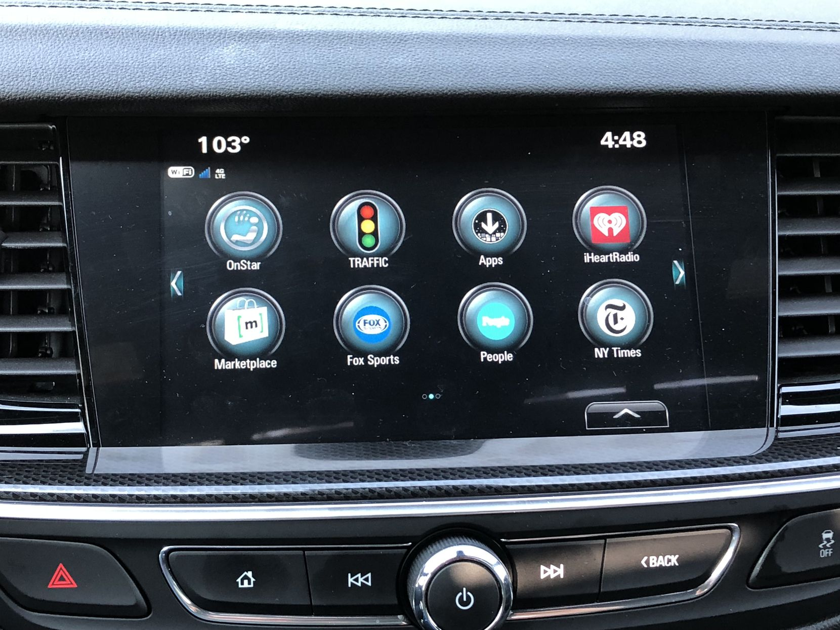Apps on the touch screen of the 2018 Buick Regal GS