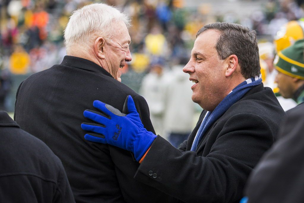 New Jersey Governor Chris Christie talks with Cowboys owner Jerry Jones on the sidelines before an NFC divisional round playoff game against the Green Bay Packers at Lambeau Field on Jan. 11, 2015, in Green Bay.