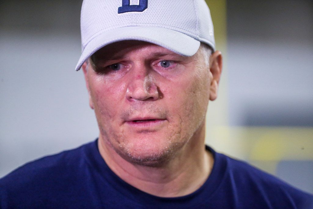 Dallas Cowboys quarterbacks coach Jon Kitna talks to the media following the Cowboys rookie minicamp practices at The Star in Frisco, Texas on Saturday, May 11, 2019.(Shaban Athuman/Staff Photographer)