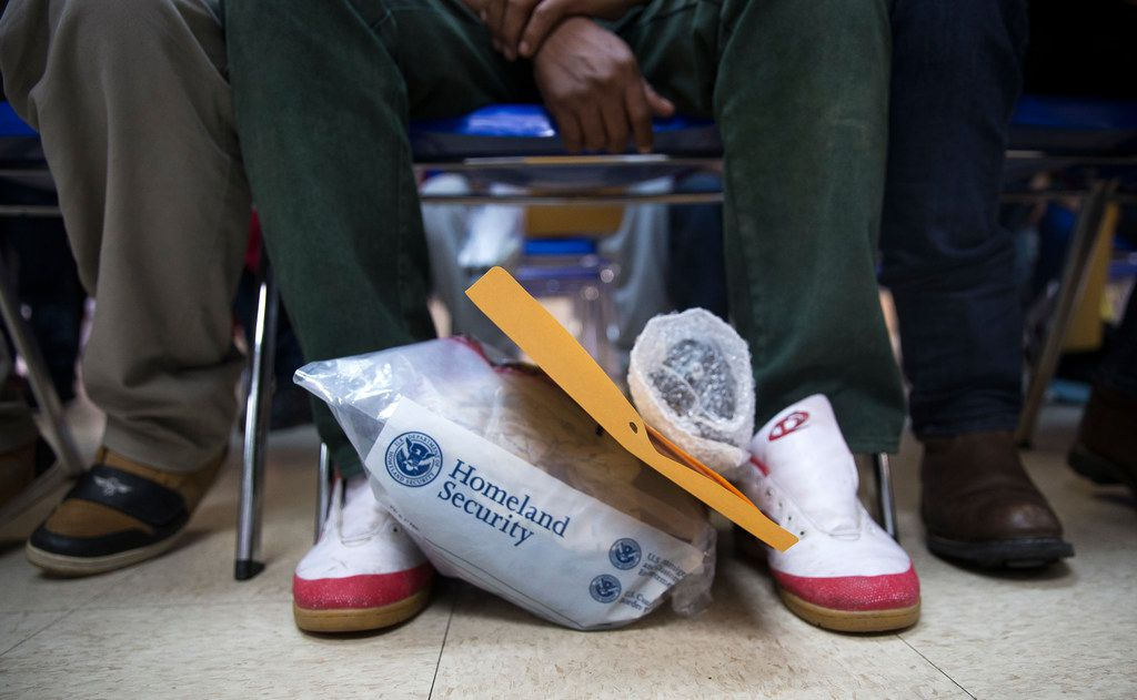 An immigrant's personal items at the Humanitarian Respite Center in McAllen, Texas on June 10, 2018. His laces and property were put in a bag while being detained by ICE.