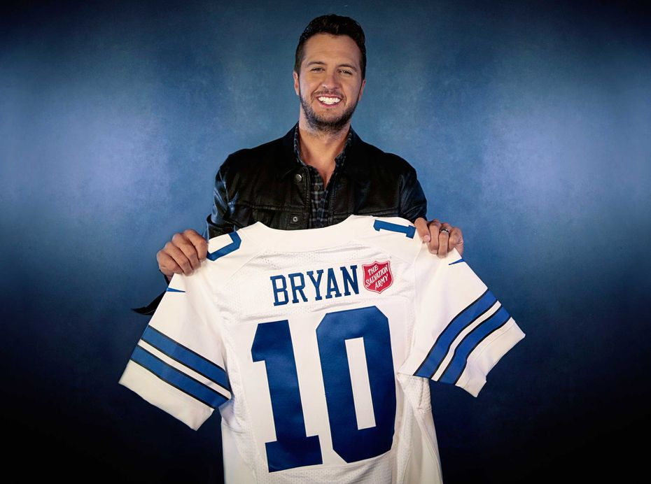 "Luke Bryan received an honorary Dallas Cowboys jersey. Why No. 10? It was ""always my childhood number,"" Bryan said."