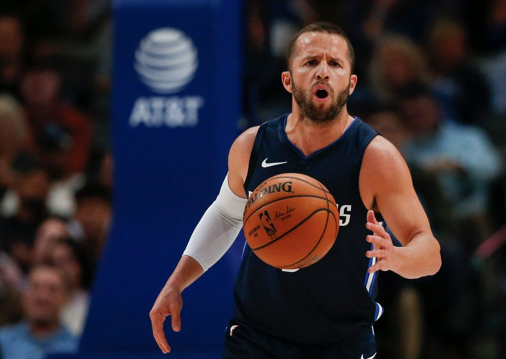 Dallas Mavericks guard J.J. Barea (5) brings the ball down during the second quarter of an NBA game between the Dallas Mavericks and the Orlando Magic on Wednesday, Nov. 6, 2019 at American Airlines Center in Dallas.