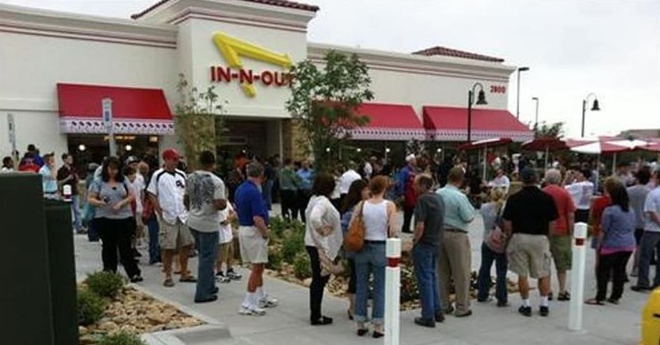 A crowd gathered outside the In-N-Out Burger in Frisco for its opening on May 11, 2011.