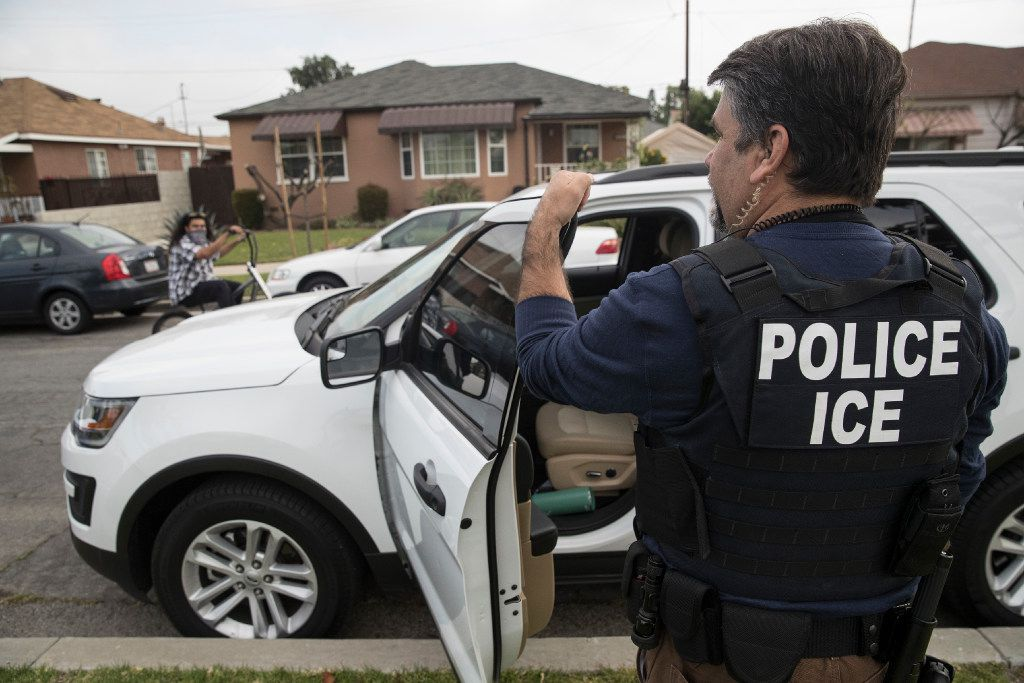 Immigration and Customs Enforcement fugitive operations team member Jorge Field outside the Montebello, Calif., home of a 47-year-old Mexican national on April 18, 2017. The man refused to come out and the team left.