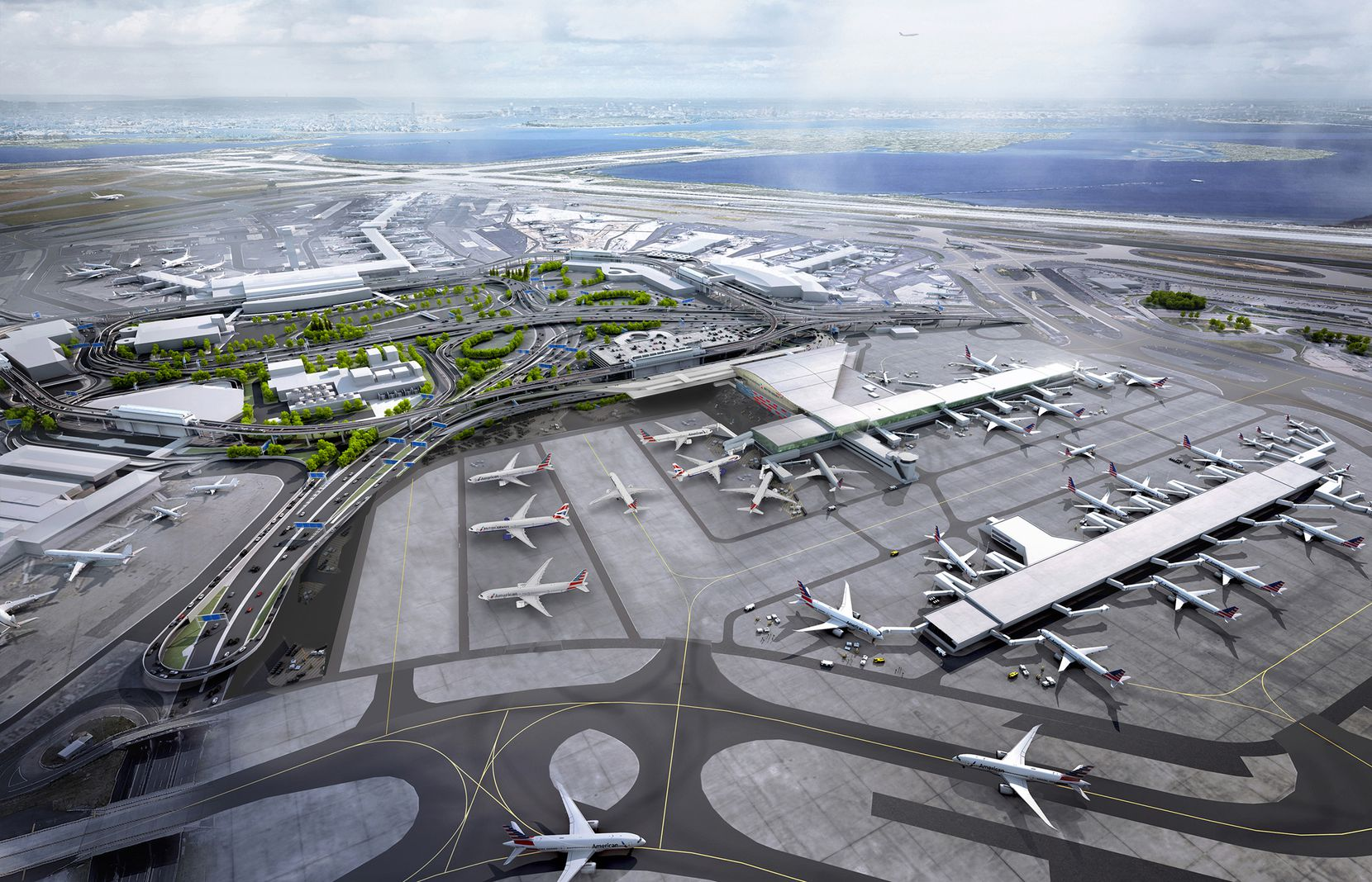 This rendering shows Terminal 8 at New York's John F. Kennedy International Airport, which will be shared by American Airlines and British Airways