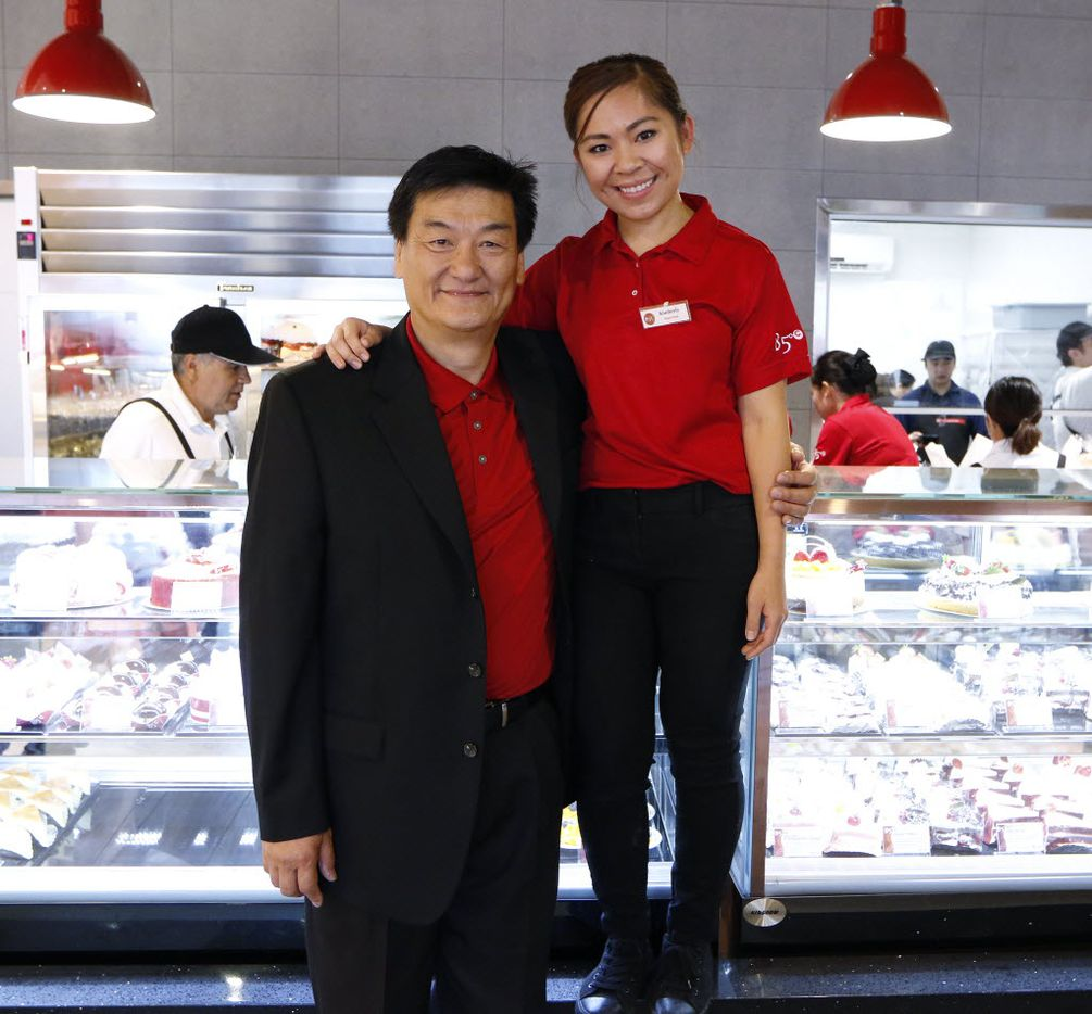 Charles Wu, left, Director Operations Division 85C Bakery Cafe, pose with Kimberly Nguyen, Supervisor, before the grand opening of 85C Bakery Cafe, a Taiwanese bakery chain, located in Carrollton, on Friday August 19, 2016. The store offers 60 types of breads, varying from Asian to European styles; plus, over 40 types of cakes. (David Woo/The Dallas Morning News)
