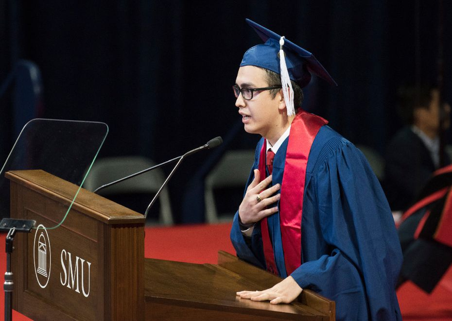Jose Manuel Santoyo spoke of his gratitude to the faculty during SMU's December graduation on Dec. 17, 2016. He is a DACA beneficiary.