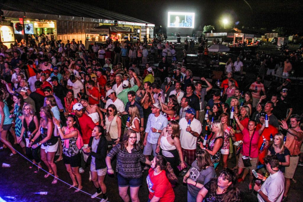 A big crowd hung around after the AT&T Byron Nelson  on Sautrday to catch disco cover band Le Freak.
