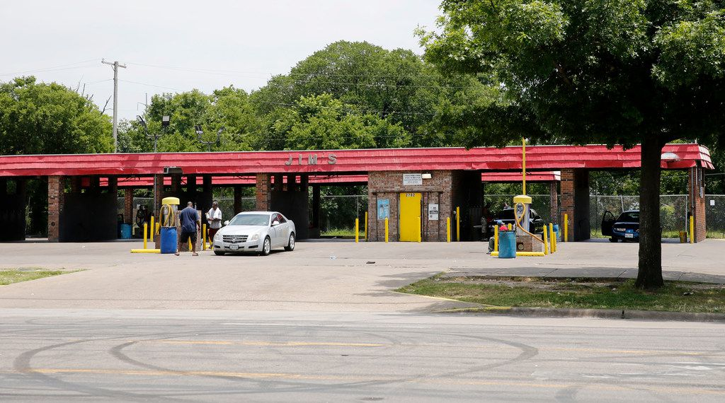 Tire marks on the ground show where cars did donuts outside of Jim's Car Wash in Dallas on Monday, June 3, 2019. Four gunshot victims were found at the car wash on Sunday evening. One was killed and four people were injured in the shooting. (Vernon Bryant/The Dallas Morning News)
