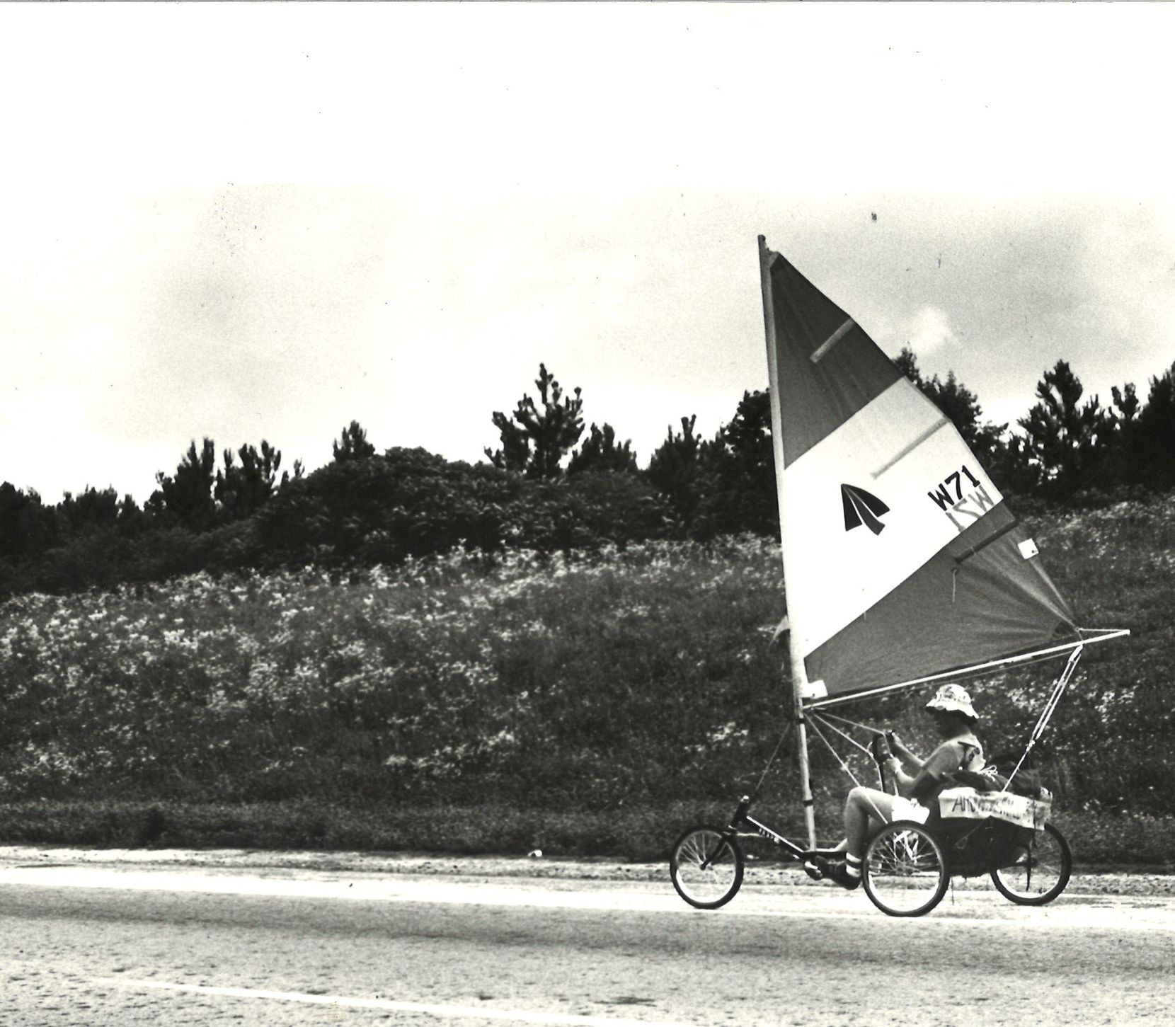 """May 29, 1980: With a good wind, Lloyd Sumner's """"sail trike"""" can average from 150 to 200 miles a day"""